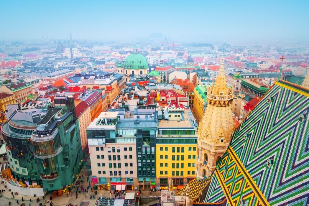 Πανοραμική θέα στη Βιέννη απ' την κορυφή του Καθεδρικού Ναού του Αγίου Στεφάνου