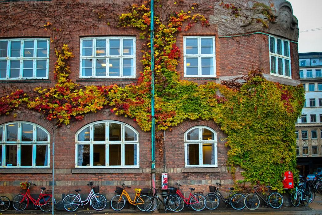 Πέτρινος τοίχος γεμάτος ποδήλατα μπροστά στην Κοπεγχάγη